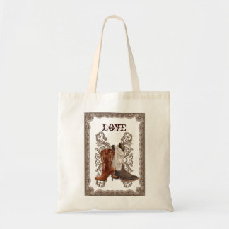 Country Cowboy Boots Western WeddingFavor Budget Tote Bag