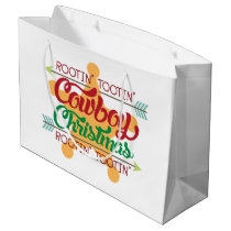 Country cowboy Christmas party Large Gift Bag