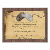 Country Cowboy Hat Barbed Bridal Shower Invitation
