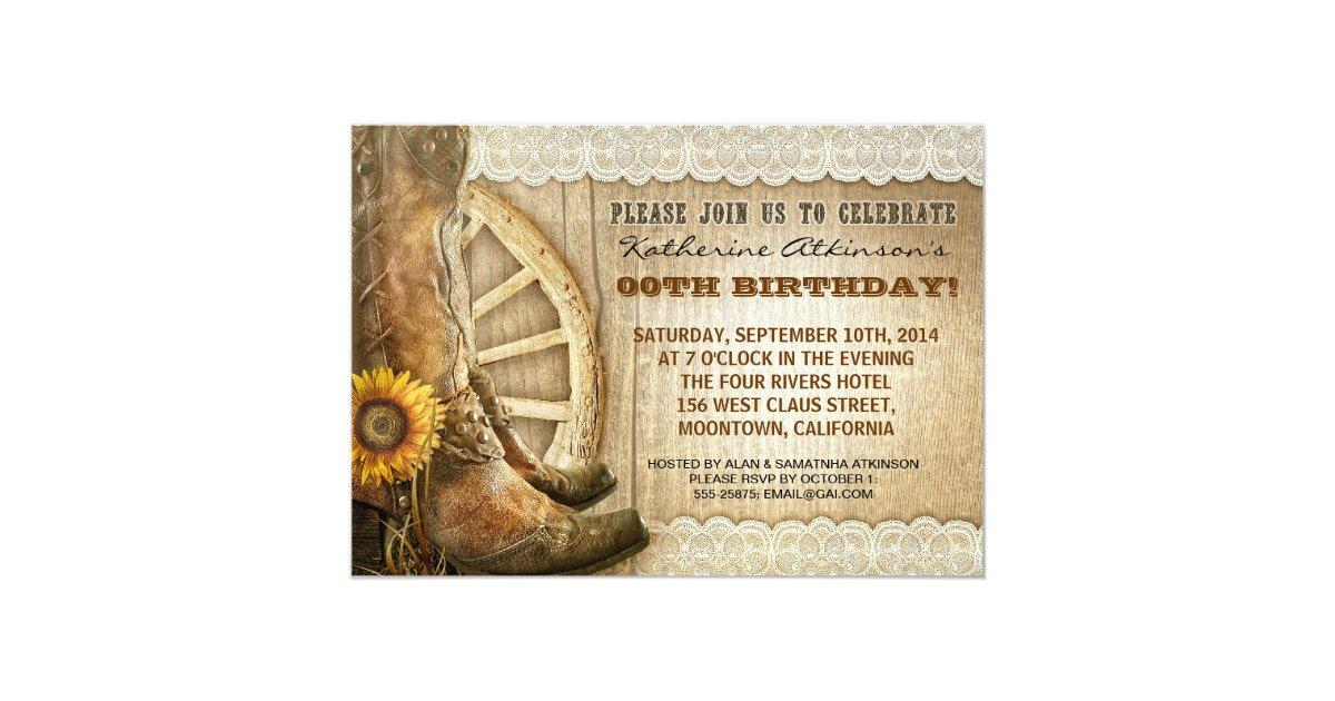 Country Cowboy Style Birthday Invitations Zazzle Com