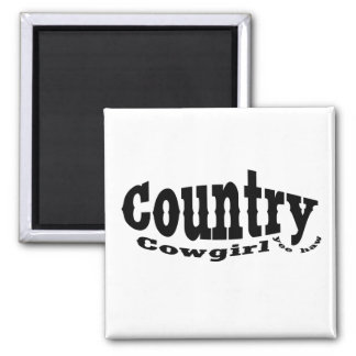 Country Cowgirl 2 Inch Square Magnet