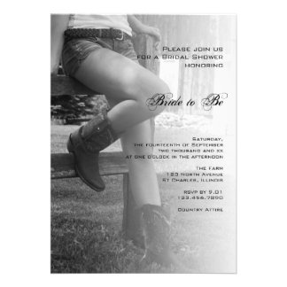Country Cowgirl and Fence Bridal Shower Invitation