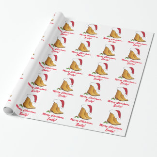 Country Cowgirl Hat Boots Christmas Customizable Wrapping Paper