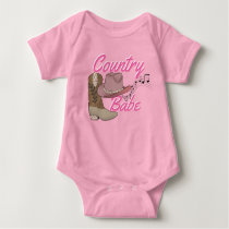 Country Cowgirl Rustic Music Southern Chic Hat Baby Bodysuit