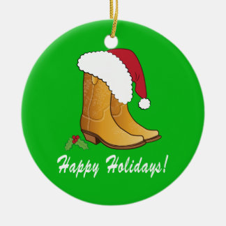 Country Cowgirl Santa Hat Boots Christmas Ceramic Ornament