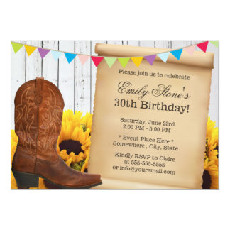 Country Cowgirl & Sunflowers Wood Birthday Party Card