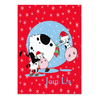 Country Cows With Santa Hats Christmas Holiday Card