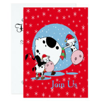 Country Cows With Santa Hats Christmas Holiday Invitation