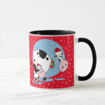 Country Cows With Santa Hats On Red Mug