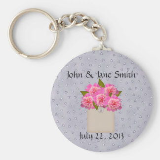 Country Crock Of Peonies Wedding Favor Keychain