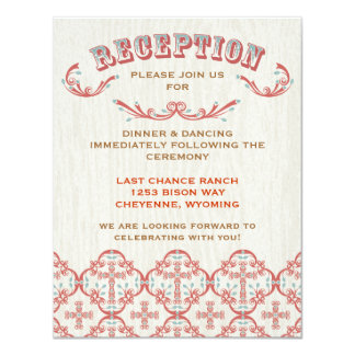 Country Cross Wedding Reception & Direction Card