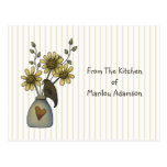 Country Crow and Sunflowers Recipe Cards Postcard