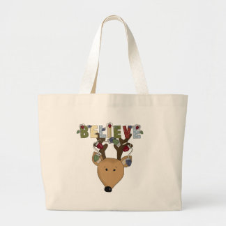 Country Cute Christmas Reindeer Believe Holiday Jumbo Tote Bag