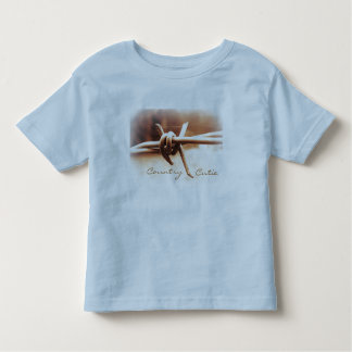Country Cutie with Barbwire Sepia Photo Toddler T-shirt