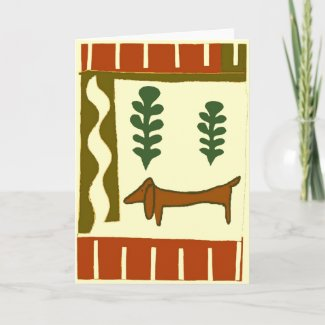Country Dachshund Greetings Holiday Card