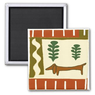 Country Dachshund magnet