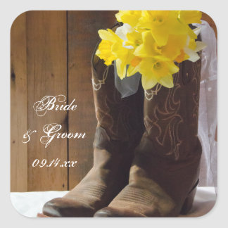 Country Daffodils Wedding Envelope Seals Square Sticker