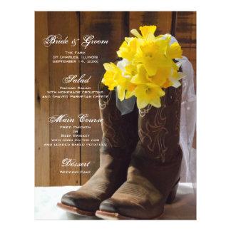 Country Daffodils Wedding Menu Flyers