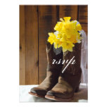 Country Daffodils Wedding Response Card Custom Announcement