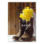 Country Daffodils Wedding Response Card Custom Announcement