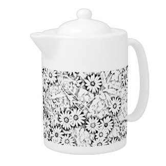 Country Daisies Black and White Teapot