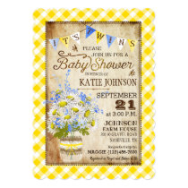 Country Daisies Gingham Check Twins Baby Shower Invitation