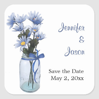 Country Daisies Mason Jar - Save the Date Stickers