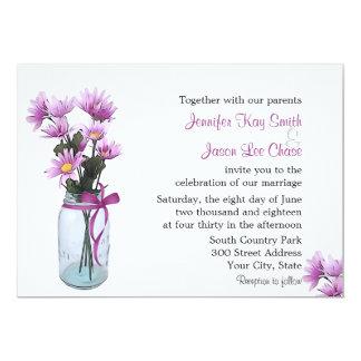 Country Daisies Mason Jar - Wedding Invitation