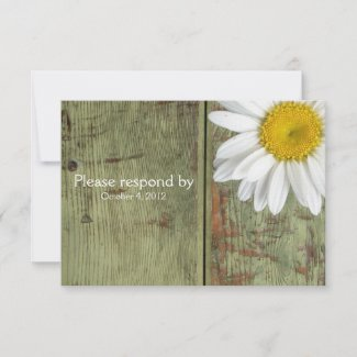 Country Daisy and Barn Wood RSVP with envelope