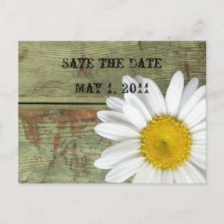 Country Daisy and Barn Wood Save the Date