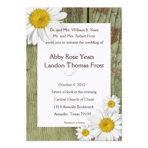 Country Daisy and Barn Wood Wedding Invitation