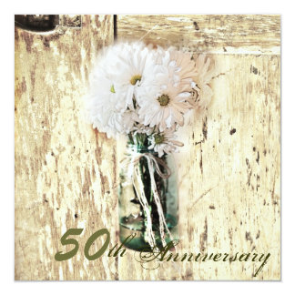 country daisy mason jar 50th wedding anniversary card