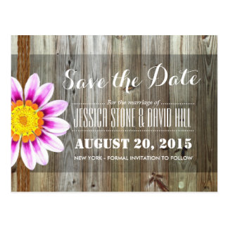 Country Daisy Twine & Barn Wood Save the Date Postcard
