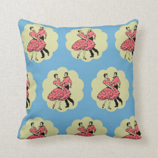 Country Dance Square Dancers In Red Throw Pillow