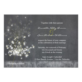 Country Dandelions Chalkboard Wedding Invitations