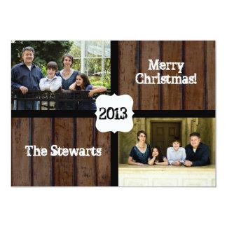 Country Dark Wood Photo Christmas Card