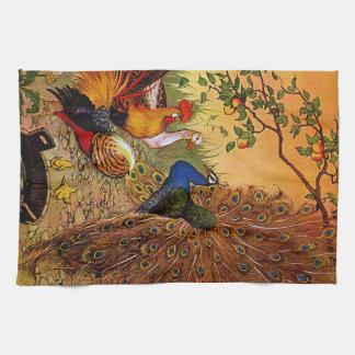 Country Decor Rooster And Peacock kitchen towel