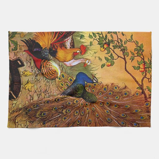 Country Decor Rooster And Peacock Kitchen Towel Zazzle
