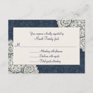 Country Denim Damask & Ivory Wedding RSVP Card