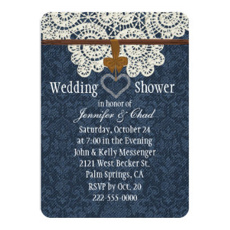 Country Denim & Ivory Lace Wedding Shower Personalized Invitations
