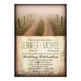 Rural country nature scenes wedding invitations rustic country country dirt road rustic fence post wedding invite filmwisefo