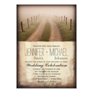 Country Dirt Road Rustic Fence Post Wedding Invite