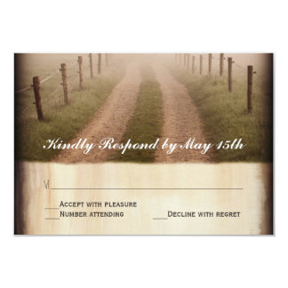 Country Dirt Road Rustic Fence Post Wedding RSVP 3.5x5 Paper Invitation Card