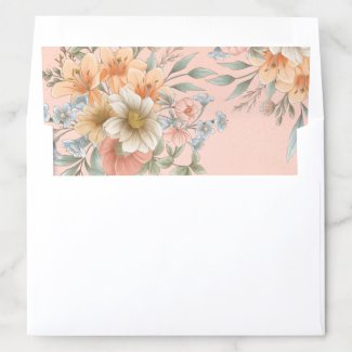 Country Dream Flowers Peach Speckle Envelope Liner