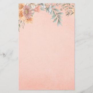 Country Dream Flowers Peach Speckle Stationery