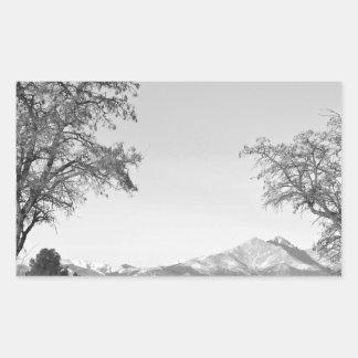 Country Drive Longs Peak View BW Rectangular Sticker