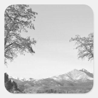 Country Drive Longs Peak View BW Square Sticker