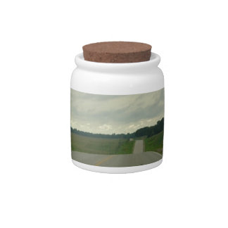 Country Driving - Long Road - Green Grass Candy Dish