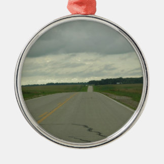 Country Driving - Long Road - Green Grass Metal Ornament