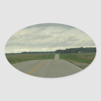Country Driving - Long Road - Green Grass Oval Sticker
